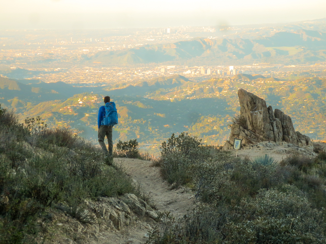 Middle Sam Merrill Trail -- Rod overlooks Los Angeles, about 4 miles from the trailhead.